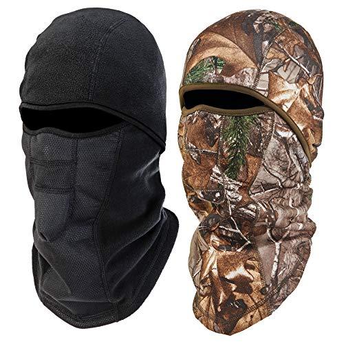 Ergodyne - 16856 N-Ferno 6823 Winter Ski Mask Balaclava, Wind-Resistant Face Mask, Thermal Fleece, 2 Pack, Black & Camo