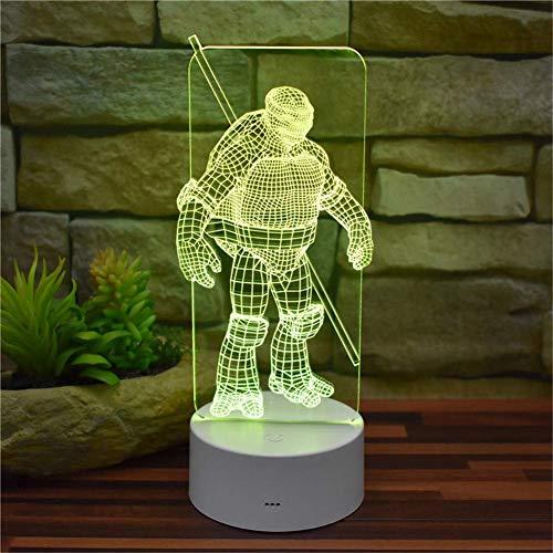 Lumière Ambiante, Teenage Mutant Ninja Tortue Donatello 3D Illusion Veilleuse USB Télécommande 16 Changement de Couleur Acrylique LED Lampe de Table Décoration Chambre Lumière Décoration Modèle Créati