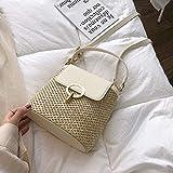 Bolso mensajero tejido a mano para damas, cartera de viaje de paja tejida en ratán y bolso de estilo bohemio