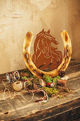 Unbekannt Pferd Pony Portrait Metall Holz Edelrost Rost Rostfigur Holzfigur Deko Dekoration Deko-Idee Dekopferd Dekotier Rostdeko Holzdekko Gartendeko Geschenk-Idee Geschenk