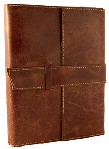 Distressed Leather Refillable Travel Journal with Handmade Paper - 6 x 8 - Saddle Brown