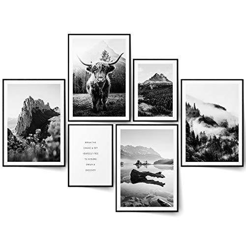 BLCKART Highland Cow Natur Bilder Set Schwarz Weiß Beidseitige Wald Poster Wohnzimmer Deko Wandbilder (L   4x A3   2x A4   ohne Rahmen, HIGHLAND COW BLACK & WHITE)
