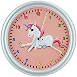 SELVA Reloj de pared para niños, diseño de unicornio, carcasa de ABS, cristal de...