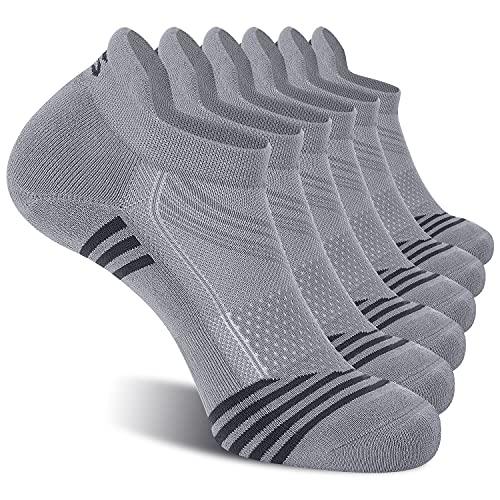 CelerSport Ankle Athletic Running Socks Low Cut Tab Sport Socks for Men Grey XL (6 Pair Pack)