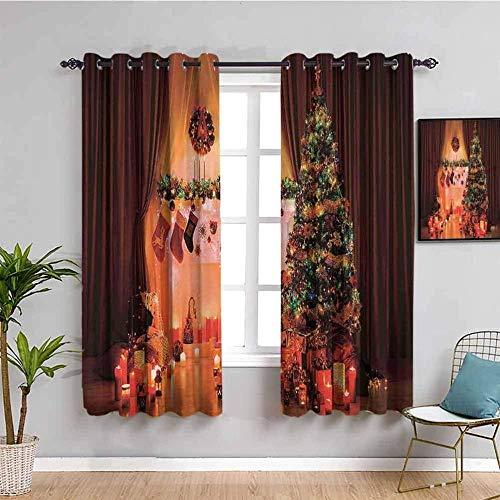 LucaSng Cortinas de Opacas - Árbol de Navidad Calcetines Velas - 183x214 cm - para Sala Cuarto Comedor Salon Cocina Habitación - 3D Impresión Digital con Ojales Aislamiento Térmico Cortinas