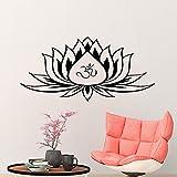 Mandala Lotus Flower Yoga Studio OM Namaste Logo Hinduismo Buda Meditación Etiqueta de la pared Vinilo Arte Calcomanía Dormitorio Sala de estar Oficina Club Decoración del hogar Mural