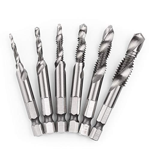 AIYUN Titanium Combination Drill /& Tap Bit Set 6-32nc 8-32nc 10-32nc 10-24nc 12-24nc 1//4-20nc 6PCS