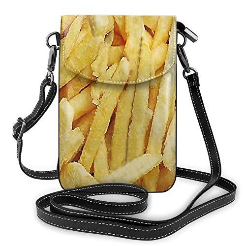 Risating Handy Umhängetasche - Pommes Frites Crossbody Handy Geldbörse mit verstellbarem Gurt PU Leder für Frauen Mädchen