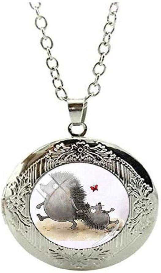 Beautiful Vintage Hedgehog Glass Locket Necklace Art Photo Jewelry Birthday Festival Gift Beautiful Gift