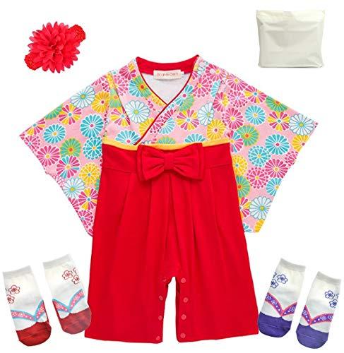 ギフトバッグ付き 巫女服風デザイン ベビー用ロンパース 靴下2足 ヘアバンド付き(花柄80cm)