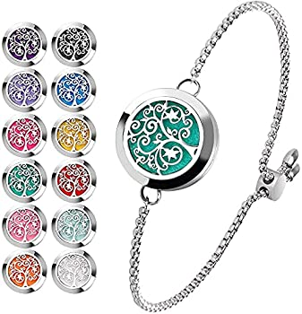 Essential Oil Diffuser Bracelet Stainless Steel Aromatherapy Locket Adjustable Bracelet Set with 24 Refill Pads  Tree of Hope