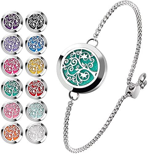Stainless Steel Adjustable Essential Oil Diffuser Bracelet (Silver)