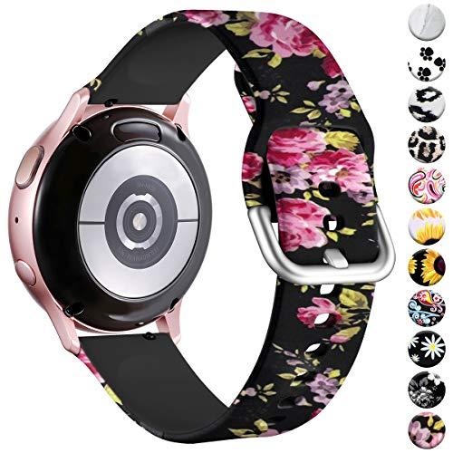 Vobafe Armband Kompatibel mit Samsung Galaxy Watch Armband, Fadeless Gedruckt Silikon Ersatzarmband für Galaxy Watch Active 40mm/Active 2 45mm/Gear Sport Uhrenarmband, Blumen Rosa