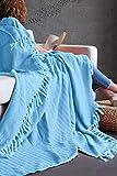 Mixibaby Tagesdecke Wohndecke Wendedecke Kuscheldeck Sofadecke Couchdecke, Farbe Design:Türkis Fischgräten Design