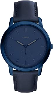 Fossil Men's The The Minimalist - Mono Stainless Steel Analog-Quartz Watch with Leather Calfskin Strap, Blue, 20 (Model: FS5448