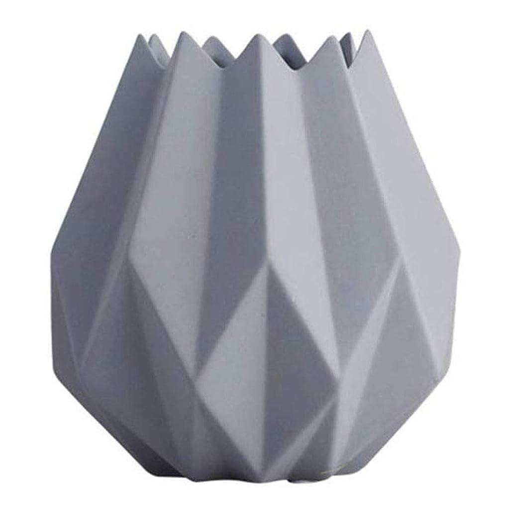 グリル整理するセールスマン花瓶 セラミック花瓶折り紙装飾花クリエイティブリビングルームベッドルームデコレーションスモールミニ13 * 14センチメートル (Color : Gray)