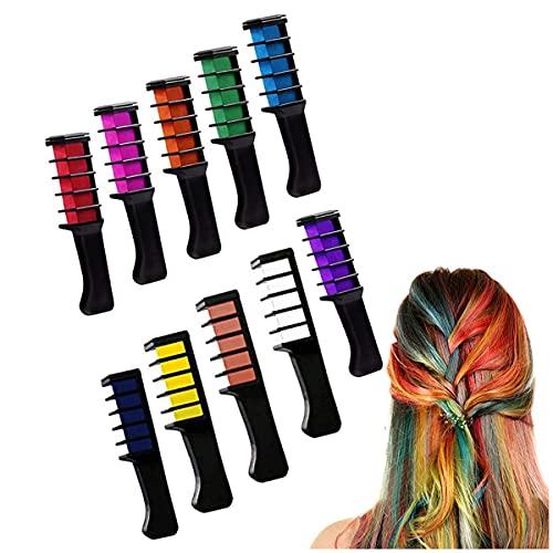 Haarkreide für Mädchen, Biluer 10 Stück Haarfarbe Kamm,Temporär Haarfarbe Kreide Kamm für Kinder Haarfärbemittel Party und Cosplay mit Handschuhe