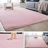 SWECOMZE Alfombra de pelo largo suave y moderna para salón, cocina, pasillo, dormitorio o habitación infantil (rosa, 80 x 160 cm)