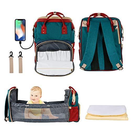 Mochila Pañalera Maternal Bolso Carro Bebé con cuna extraíble Mochila Carrito Bebe Impermeable para caminar, viajar, salir, ir de compras