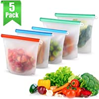5-Pack Moico Reusable Silicone Food Storage Bags
