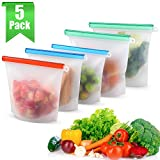 MOICO Reusable Silicone Food Storage Bags, 5 Pack Airtight Seal Food Preservation Bag, BPA Free Leakproof Freezer Bags for Vegetable, Lunch, Snack, Fruit, Sandwich, Cereal