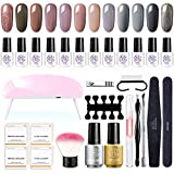 Gel Nail Polish Kit with U-V Light, 12 Colors Fall Winter Gel Polish Starter Kit with Nail Art Manicure Tools Kit, Base and Top Coat DIY AT-Home Gel Nail Kit by Sexy Mix - Best Reviews Guide