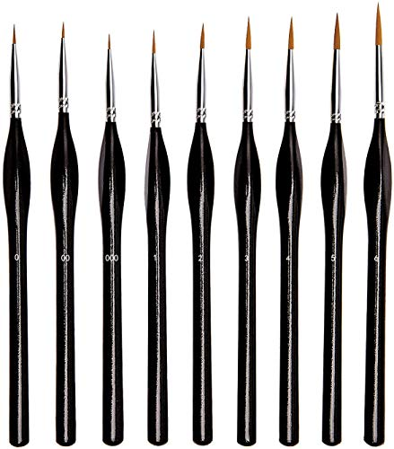 9 Sizes Micro Detail Paint Brush Set Miniature Artist Painting Brushes Kit for Watercolor, Acrylic, Oil, Eye Lashes, Snow Flakes and fine Feathers, Nail,Models Painting (Black)