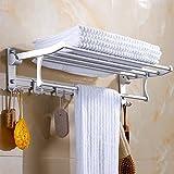 Towel - Soporte de toalla de aluminio grueso para cuarto de baño o cuarto de baño, material de cuarto de baño, cuarto de baño, cinco seis, disfraces, Thickened bath towel rack