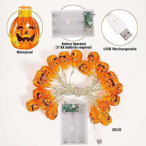 Halloween Luci Stringa, Luci Zucca Halloween Luminosa Luci Decorative, Alimentazione a Batteria e USB, 3M 20 LED Zucca Luci Della Stringa per Casa Cortili Festa Giardino Halloween Decorazione