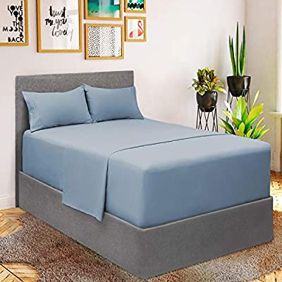 Mellanni Extra Deep Pocket Sheets - Queen Size Sheet Set - 4 Piece 1800 Brushed Microfiber Bedding with Extra Deep Pocket Fitted Sheet - Easily Fits 18-21 inch Mattress (Queen, Blue Hydrangea)