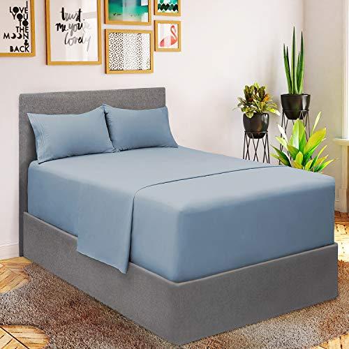 Mellanni Juego de sábanas – microfibra cepillada 1800 ropa de cama – resistente a las arrugas, la decoloración y las manchas – 3 piezas (para colchones extra profundos, doble, hortensia azul)