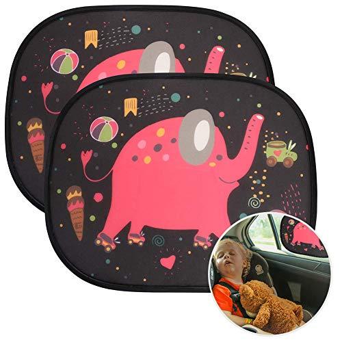 URAQT Sonnenblenden Auto, 2 Stück Sonnenschutz Baby, Autoscheibe Schatten, Selbsthaftende Autofenster, Kinder Autosonnenblende, Zertifizierter UV-Schutz, für Auto Seitenfenster (Elefant)