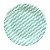 60 Frau Wundervoll Pappteller / Einwegteller aus Pappe mit türkisen Streifen (Vorteilsmenge)