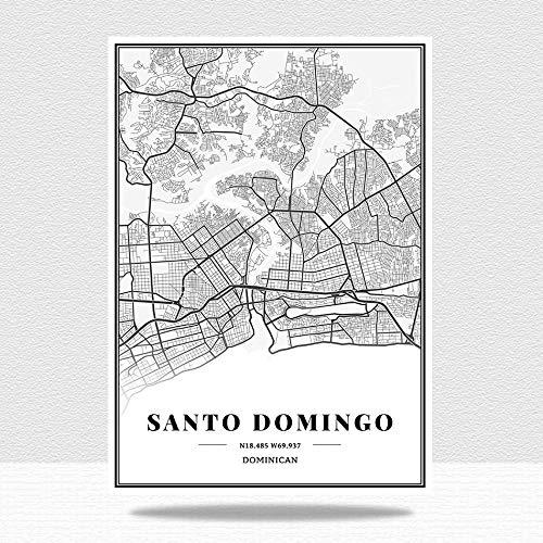 Cuadro En Lienzo,Dominicano Santo Domingo Ciudad Mapa Impresión Negro Y Blanco Minimalista Texto Abstracto Impresión Lienzo Mural Pintura Estudio Sala De Estar Oficina Decoración, 60 * 80 Cm