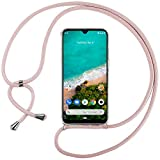 Ingen Funda con Cuerda para Xiaomi Mi A3 - Carcasa Transparente TPU Suave Silicona Case con Colgante - Rosa