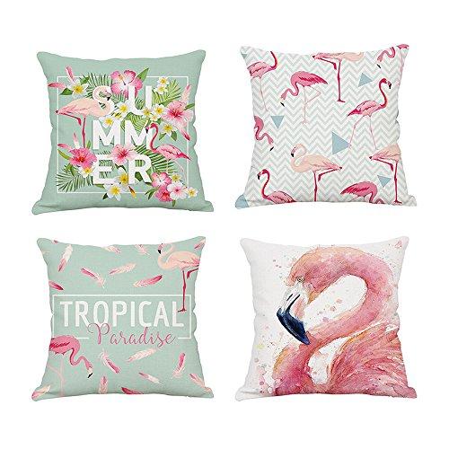 Chlove Lot de 4 Housse de Coussin Taie d'oreiller Décoratif Original Motif Flamant Flamingo Rose Chambre Salon Bureau Voiture Lit Canapé (Rose, 45x45cm)