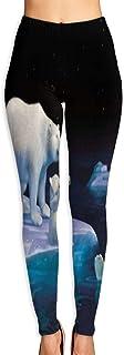 Cute Cartoon Polar Bear in Iceland Yoga Pants Women's Stretch Leggings Breathable High Waist Trousers Sportswear