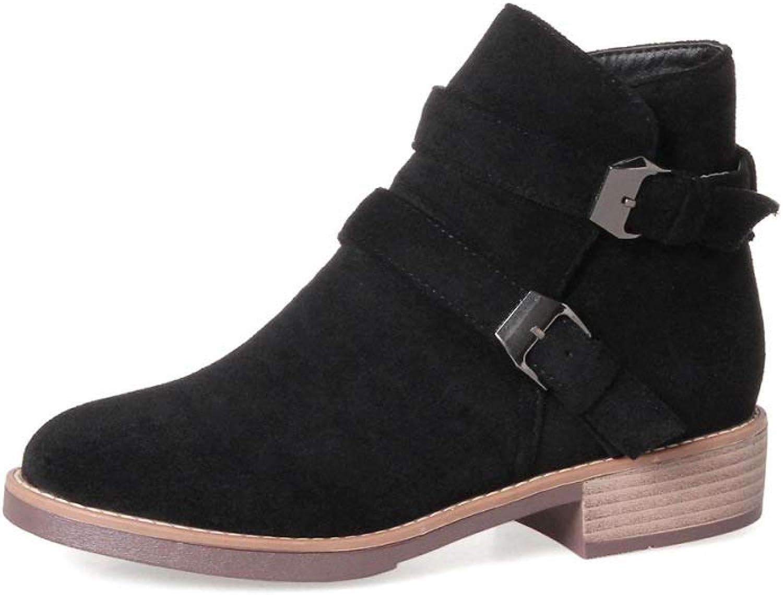 Women Suede Ankle Boots 2018 Winter New Low-Heel Belt Buckle Martin Boots Size 31-43 Booties