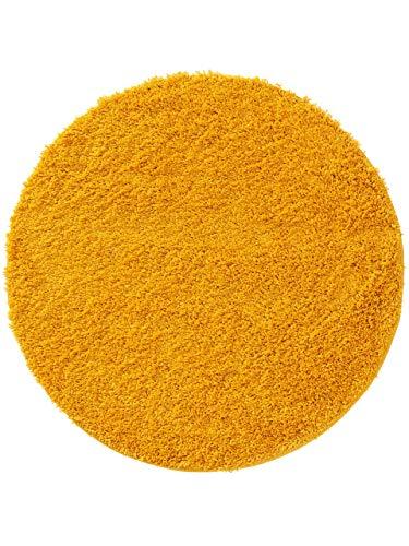 benuta Alfombra de Pelo Largo Soho, Color Amarillo, diámetro de 80 cm, Redonda