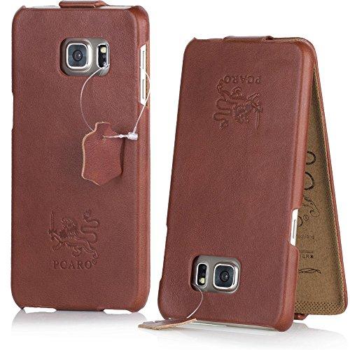 PCARO® Smooth Jazz Echtleder Hülle für Samsung-Galaxy-S6 Handmade Rindsleder Leder Tasche in Cognac - Ledertasche inkl. Display Schutzfolie - ORIGINAL Cover