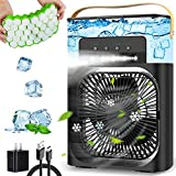 Portable Air Conditioner Fan, Personal Mini Air Conditioner Desk Cooling Fan with 900ml Water Tank, 1/2/3 H Timer, 3 Wind Speeds and 3 Spray Modes for Bedroom, Office, Small Room, Travel