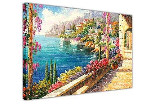 Bild auf gerahmter Leinwand mit zauberhaftem Blick von einem Balkon am Mittelmeer, Ölgemälde-Nachdruck, 06- A0 - 40