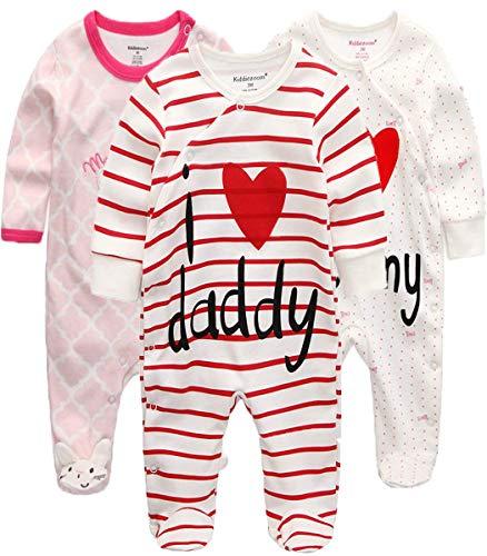 Kiddiezoom Baby Jungen Pyjama, eng-anliegend mit integrierten Schuhen, langarm, Baumwolle Gr. 50, Rosa Kaninchen & I Love Dad & I Love Mom