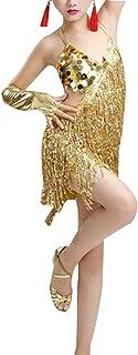 zhbotaolang Children Sleeveless Tango Sequin Costume - Tassel Dress Girls Latin Dance Stage Performance Ballroom Party Skirt