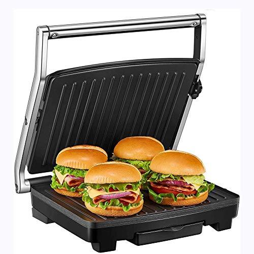 Yanzz Sandwich, Grill mit Temperaturkontrolle, 4-Scheibe Extra Large Sandwich Presse for Familie, antihaftbeschichtetem Platten Und abnehmbare Tropfschale, Edelstahl 2000W dsfhsfd