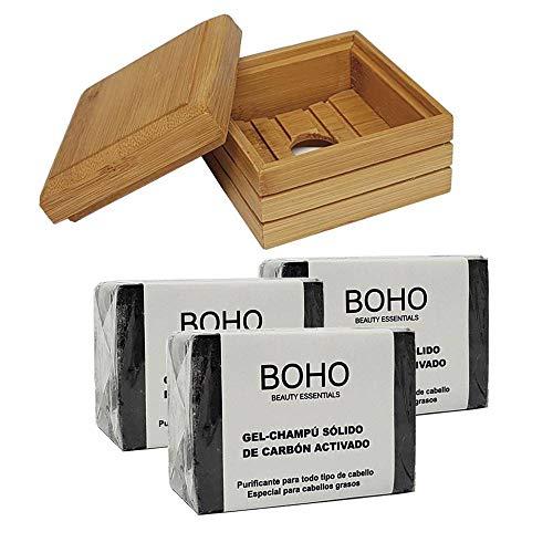BOHO Champu Sólido Carbón Activado 60gr, 3 Unidades + Jabonera Bambú