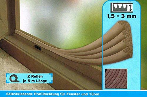 Powerfix®Profi Gummidichtug, selstklebend für Fenster & Türen (W-Profil - Braun)