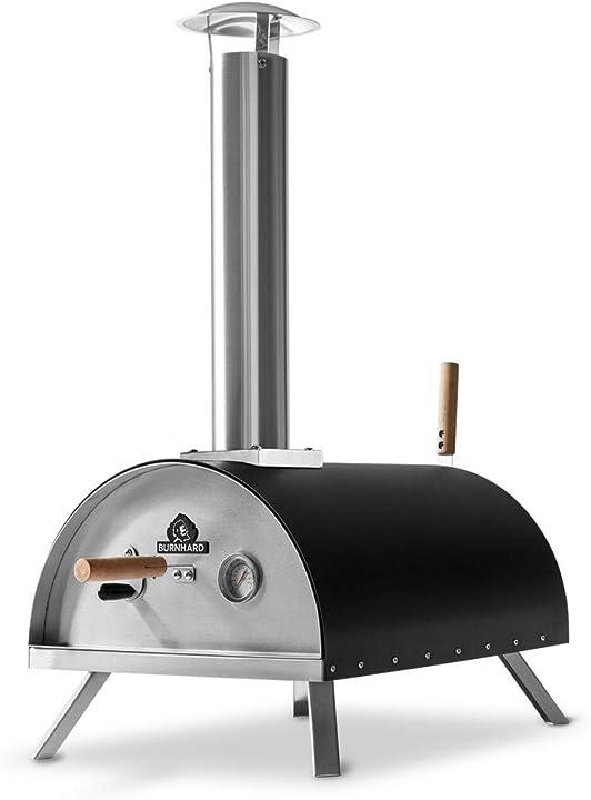 Forno per pizza da esterno in acciaio inox nero, con palla e pietra per pizza burnhard 941671