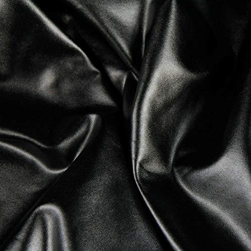 Zaione - Tela de piel sintética elástica de 4 vías de 58 pulgadas de ancho con forro polar de licra para zapatos, manualidades, paquete de apliques, piel sintética, negro, By the Metre