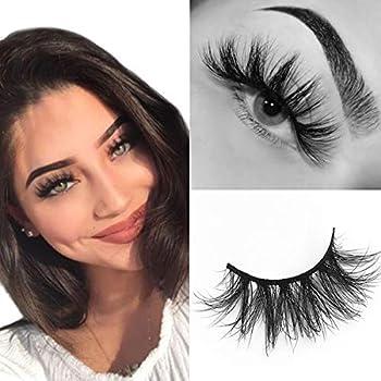 SWINGINGHAIR Mink Lashes 3D Mink Eyelashes 19mm Natural False Eyelashes Siberian 3D Mink Lashes Natural Look Eyelashes Hand-made Fluffy Volume Lashes 1 Pair